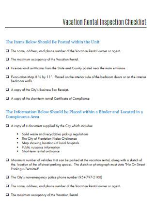 Sample Vacation Rental Inspection Checklist