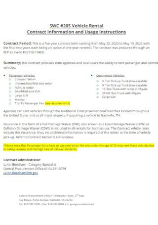Sample Vehicle Rental Contract