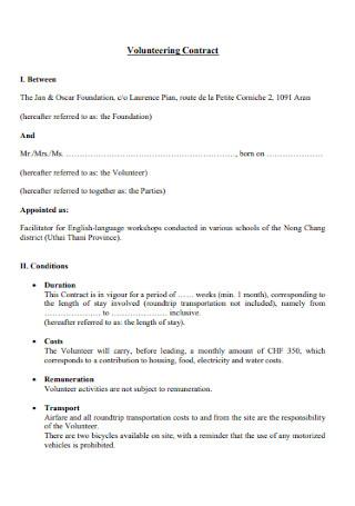 Sample Volunteering Contract