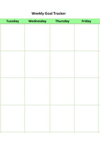 Sample Weekly Goal Tracker