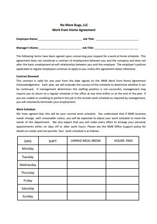 Sample Work From Home Agreement