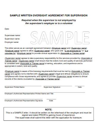 Sample Written Agreemernt for Supervision