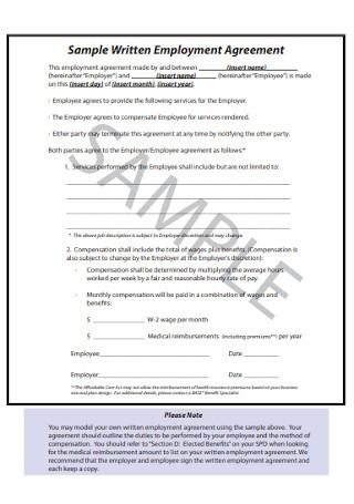 Sample Written Employment Agreement