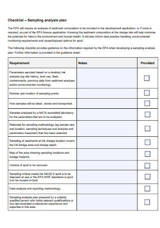 Sampling Analysis Plan
