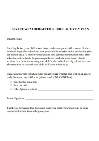 School Activity Plan