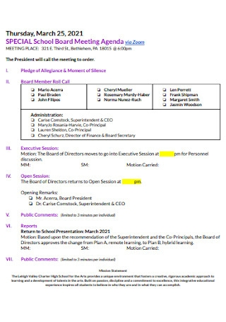 School Board Meeting Agenda