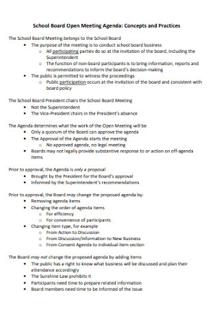 School Board Open Meeting Agenda