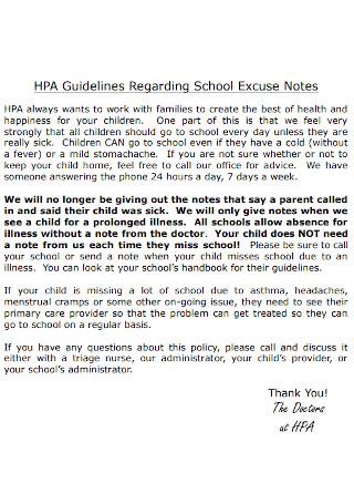 School Excuse Notes