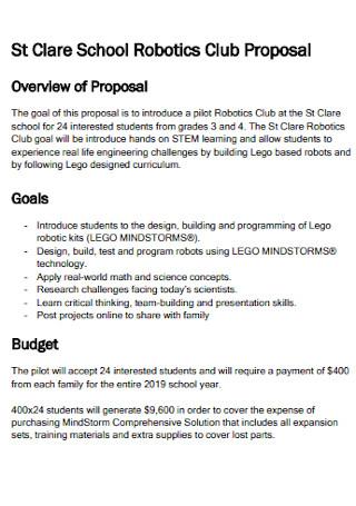 School Robotics Club Proposal