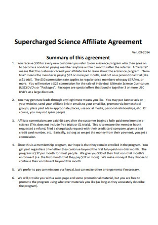 Science Affiliate Agreement