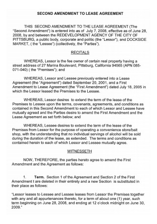 Second Amendment to Lease Agreement