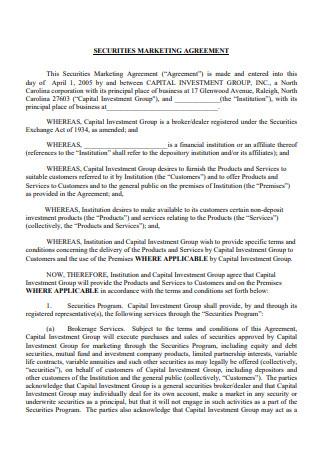 Securities Marketing Agreement