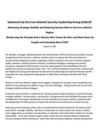 Security Leadership Group Statement