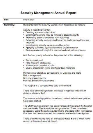 Security Management Annual Report