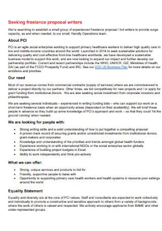 Seeking Freelance Proposal