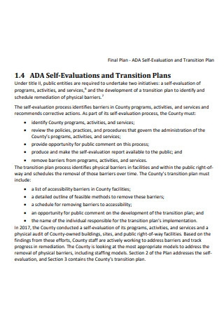 Self Evaluation and Transition Plan