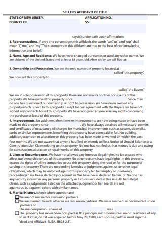 Seller Affidavit of Title