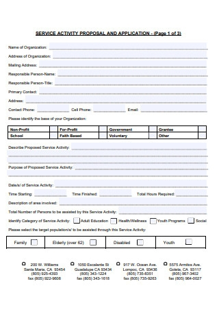 Service Activity Proposal and Application