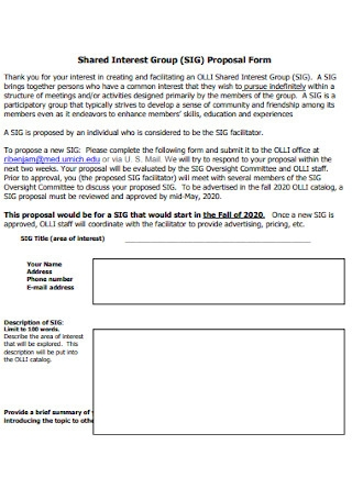 Shared Interest Group Proposal Form