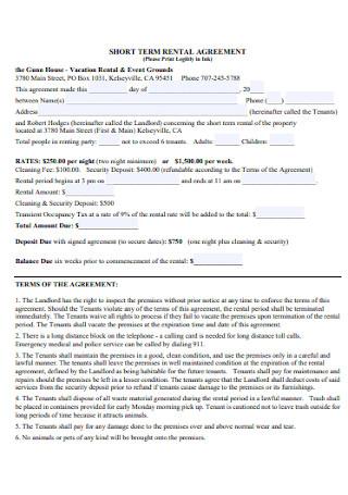 Short Term House Rental Agreement