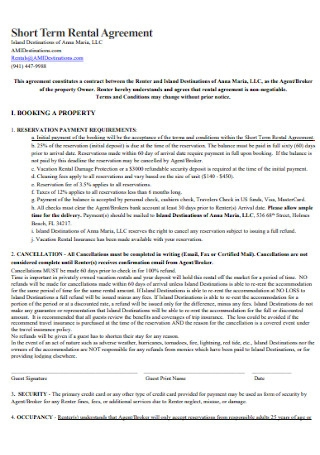 Short Term Rental Agreement Format