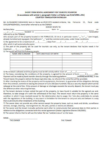 Short Term Rental Agreement for Touristic Purpose