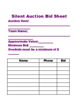 Silent Auction Bid Sheet in DOC