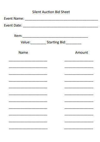 Silent Auction Event Bid Sheet