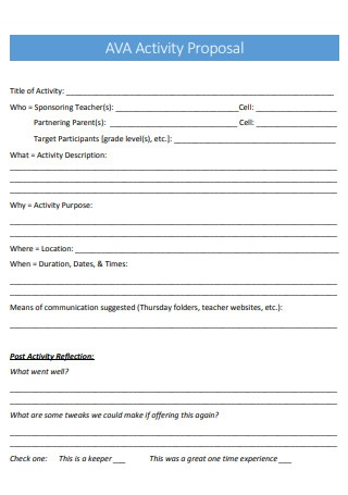 Simple Activity Proposal