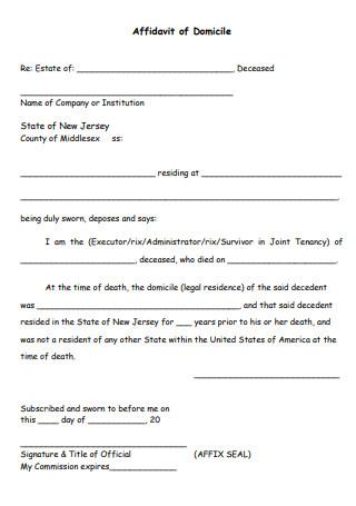 Simple Affidavit of Domicile