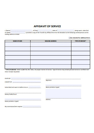 Simple Affidavit of Service
