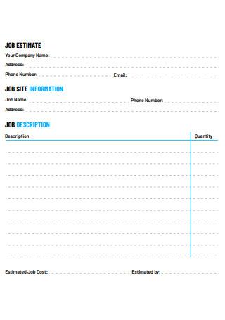 Simple Job Estimate