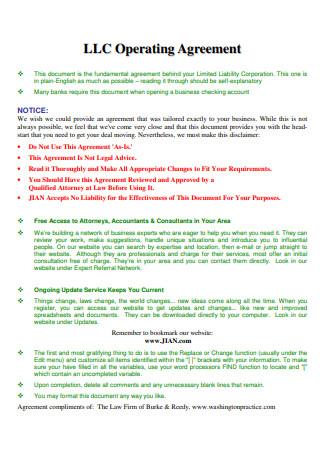 Simple LLC Operating Agreement