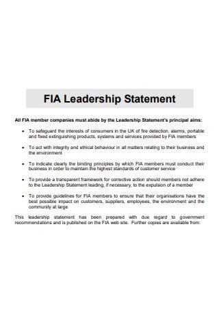 Simple Leadership Statement