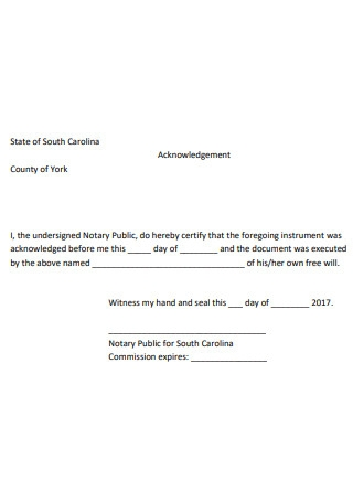 Simple Notary Acknowledgement