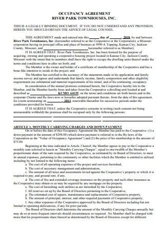 Simple Occupancy Agreement