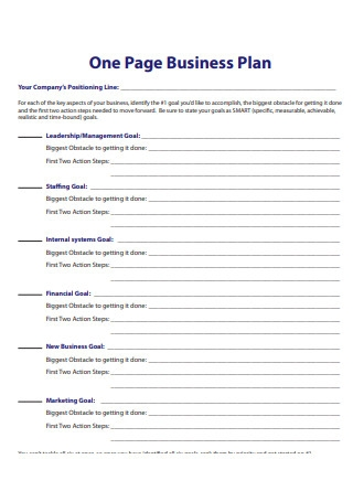 Simple One Page Business Plan