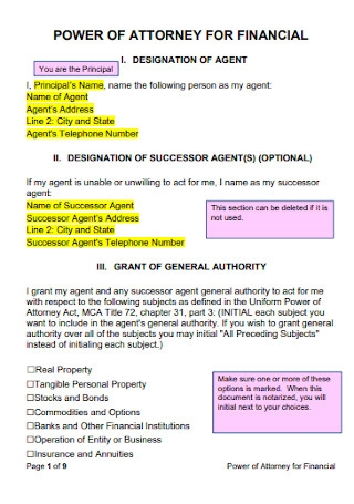 Simple Power of Attorney for Financial