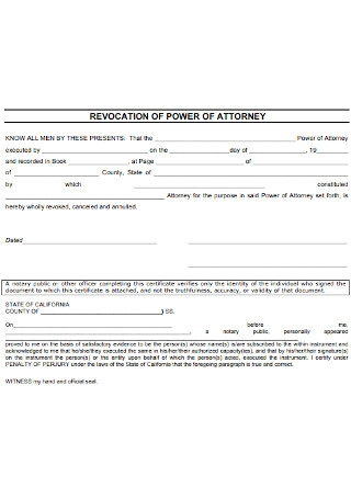 Simple Revocation Power of Attorney