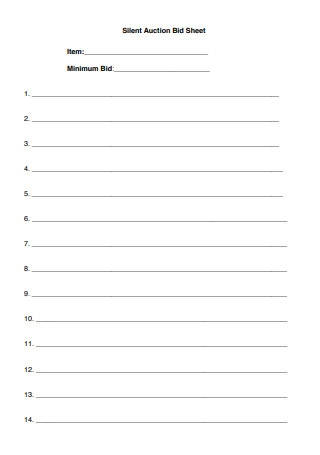 Simple Silent Auction Bid Sheet