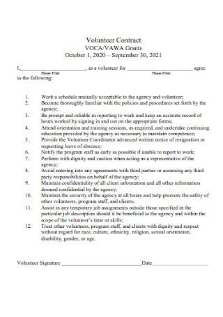 Simple Volunteer Agreement