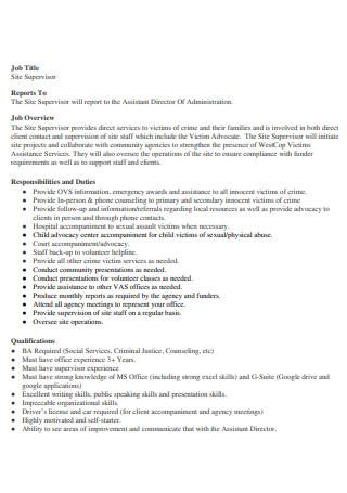 Site Supervisor Report