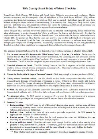 Small Estate Affidavit Checklist