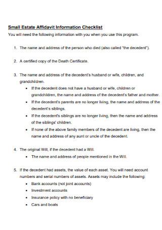 Small Estate Affidavit Information Checklist