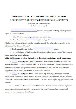 Small Estate Affidavit for Collecation