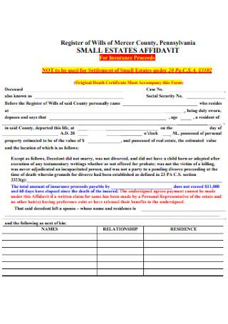 Small Estate Affidavit for Insurance