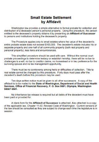 Small Estate Settlement by Affidavit