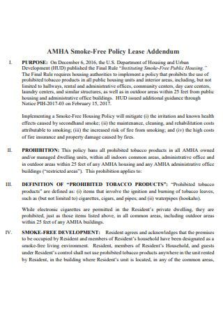 Smoke Free Policy Lease Addendum