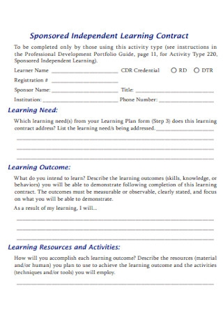 Sponsored Independent Learning Contract