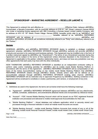 Sponsorship Marketing Agreement